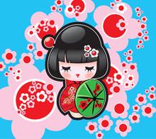 Wektor japoński lalka