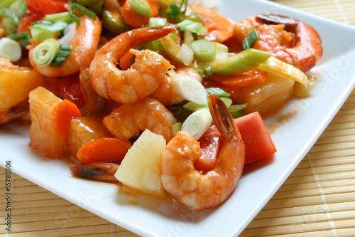 Foto Spatwand Schaaldieren Sweet and Sour Shrimp
