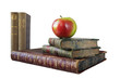 stack of vintage books, with an apple, isolated