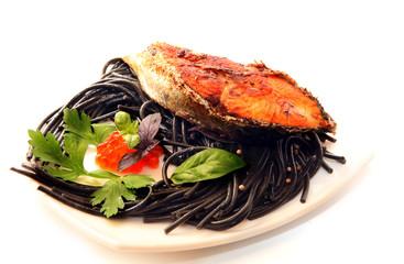 black spaghetti&fish