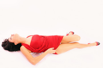 woman lying on white background