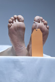 Labeled feet of a dead person