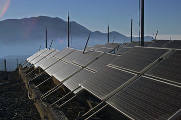 solar energy panels on the mountain