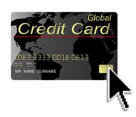 Black credit card vector with computer cursor