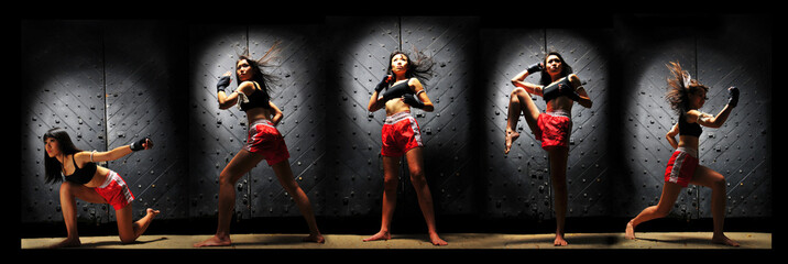 Muay Thai Boxing In Multiplicity Shots