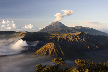 Mount Bromo volcano after eruption
