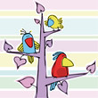 Three funny birdies on a pink tree