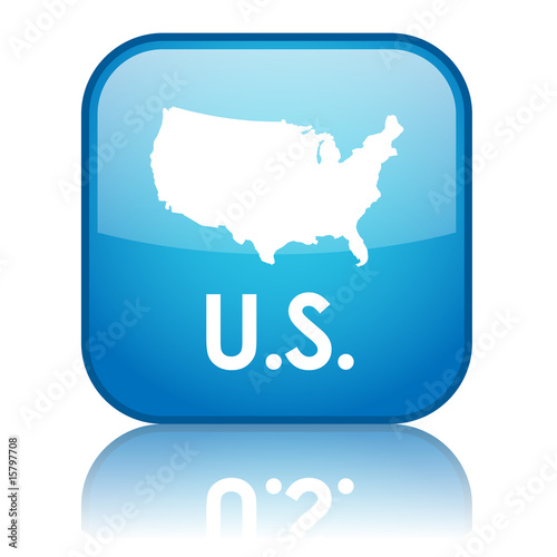 "Square ""U.S."" button with reflection (blue)"