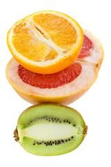 Fresh grapefruit, orange and kiwi on white background
