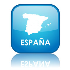 "Square ""Espana"" button with reflection (blue)"