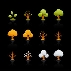 Icon Set in Black - Tree Four Seasons