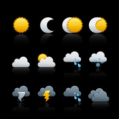 Icon Set in Black - Weather and Climate