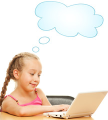 Little schoolgirl with a laptop....