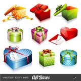 Fototapety set of nine colorful vector gift boxes