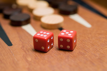 Backgammon with red dice