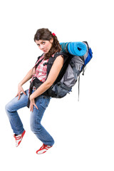 jpg young woman with a tourist rucksack