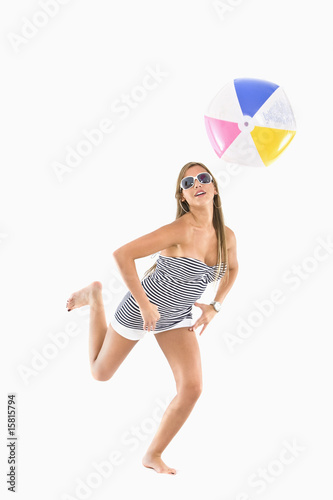 fashion woman with a beach ball