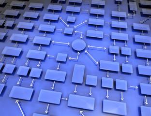 Organigramme réseau fond bleu