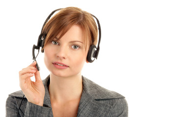 Secretary/telephone operator wearing headset