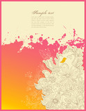 handdrawn floral doodles with little bird poster