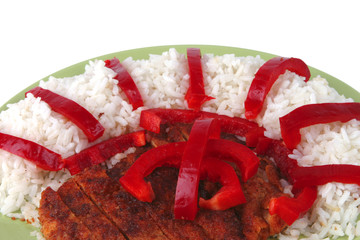 roast meat with rice and pepper