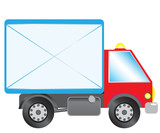 Mail delivering lorry poster