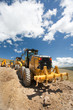 Excavator, digger, earthmover at construction site