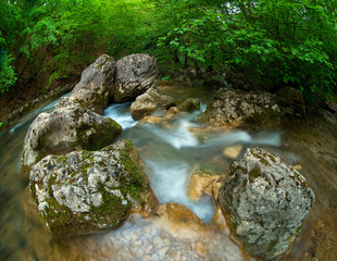 Stones and montain river