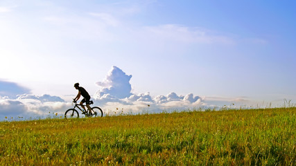 The bicyclist on a meadow