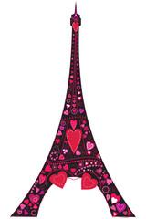 Love in Eiffel tower silhouette