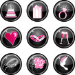 Nine black glossy wedding web icons with hot pink.