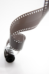 Analog film roll before white background