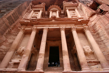 look up to the Treasury of Petra,