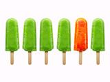 six  juice ice creams isolated on white background