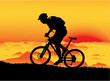 Mountain biker at sunset. No transparency - 15848761