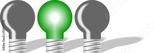 Green lightbulb in line of 3