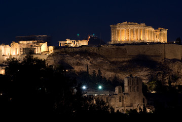 view of Acropolis and Parthenon by night