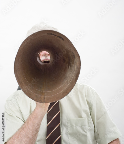 senior businessman megaphone