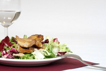 roasted chicken meat with much salad