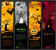 set of four colorful Halloween banners