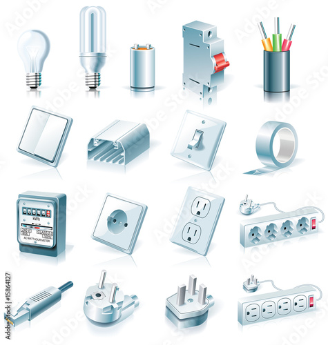 Vector electrical supplies icon set
