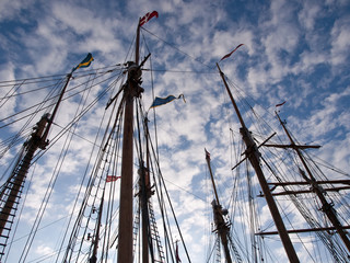 Sailing masts of wooden tall ships
