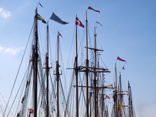 Sailing background line of masts