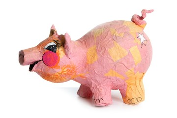 Cute little pink pig cartoon handmade toy on white