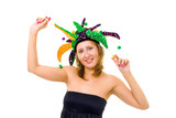 Woman in funny cap make a fool poster