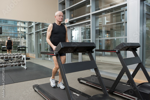 Man walking on treadmill