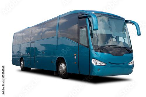 Leinwanddruck Bild Aqua Blue Tour Bus