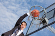 shouting businessman during basketball game