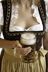 Bavarian Girl in Dirndl with Oktoberfest Beer Stein  (Maß)