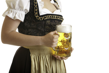 Bavarian Girl in Dirndl with Oktoberfest Beer Stein (Mass)